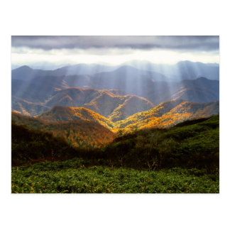 Sun Rays Over Shirakami-Sanchi Mountains Postcard