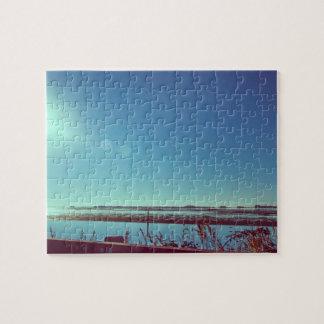 Sun rays over the blue lagoon jigsaw puzzle