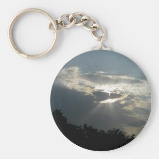 Sun Rays Shining Through Clouds Keychain