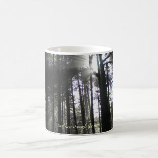 Sun rays through the trees coffee mug