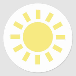 Sun: Retro weather symbol Classic Round Sticker