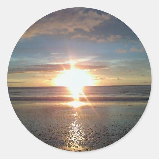 Sun Rise on North Beach Classic Round Sticker
