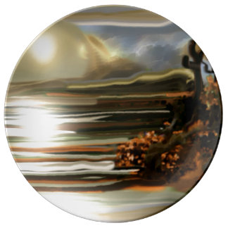 Sun Rise On the Desert Southwestern Abstract Art Plate