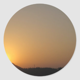 sun rise sun set round sticker