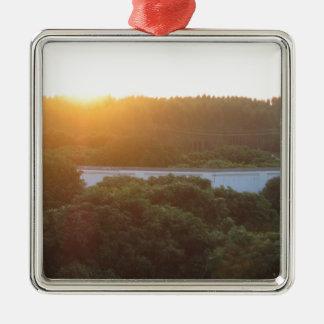 Sun rise sun set Silver-Colored square ornament