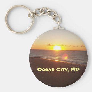 Sun Rising on the Atlantic Ocean Keychain
