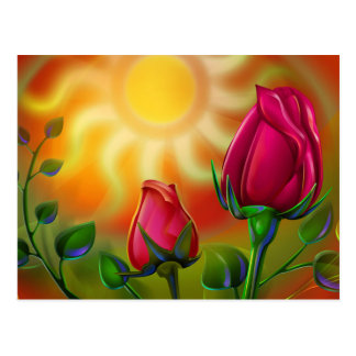 Sun & roses postcard