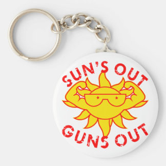 Sun's Out Guns Out Body Building Strength Training Basic Round Button Keychain