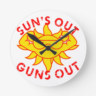 Sun's Out Guns Out Body Building Strength Training Clock