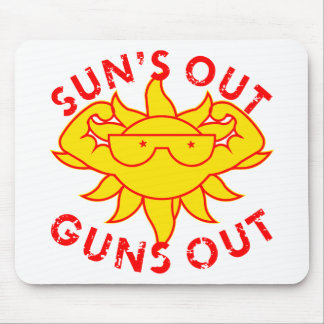 Sun's Out Guns Out Body Building Strength Training Mouse Pad