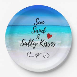 Sun Sand and Salty Kisses Tropical Beach 9 Inch Paper Plate