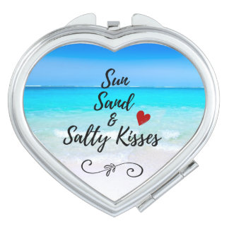 Sun Sand and Salty Kisses Tropical Beach Compact Mirror