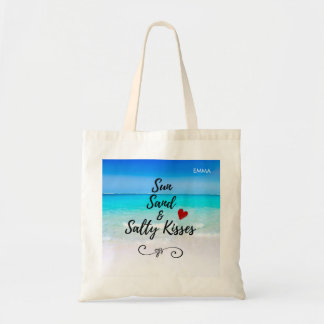 Sun Sand and Salty Kisses Tropical Beach Custom Tote Bag