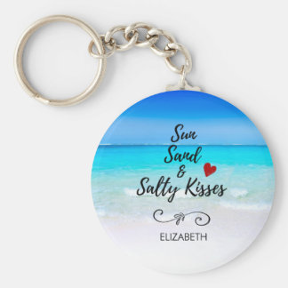 Sun Sand and Salty Kisses Tropical Beach Keychain