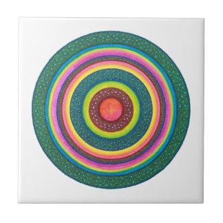 Sun Seed Mandala Ceramic Tile, Art Tile