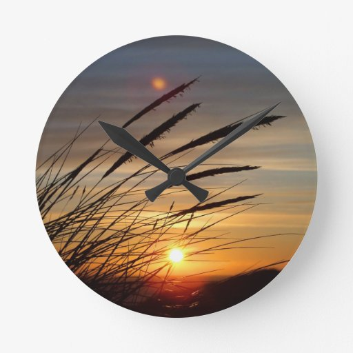 Sun Set Round Clock
