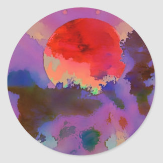 Sun set in the trees classic round sticker
