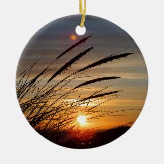 Sun Set Round Ceramic Ornament