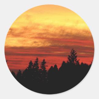 Sun Set Round Sticker
