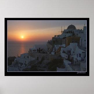 Sun Sets on Santorini Poster