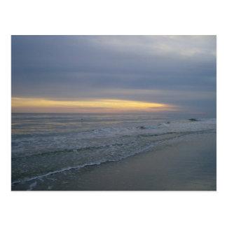 Sun Setting Along the Seashore Postcard