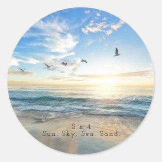 Sun. Sky. Sea. Sand. Beach Scene Classic Round Sticker