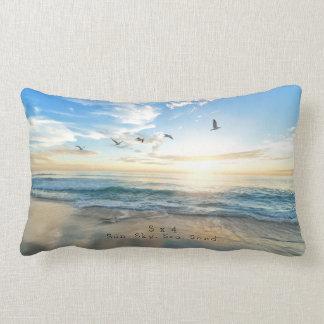 Sun. Sky. Sea. Sand. Beach Scene Lumbar Pillow