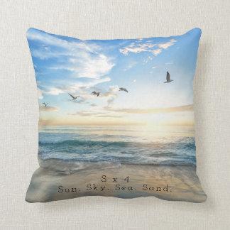 Sun. Sky. Sea. Sand. Beach Scene Throw Pillow