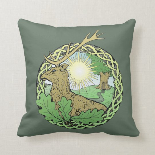 Sun, stag & oak throw pillow