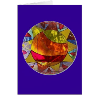 Sun stained glass greeting card