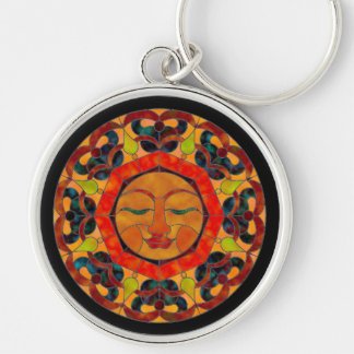 Sun Stained Glass Mandala Key Chain