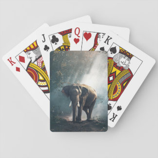 Sun Stroked Elephant in Forest Playing Cards