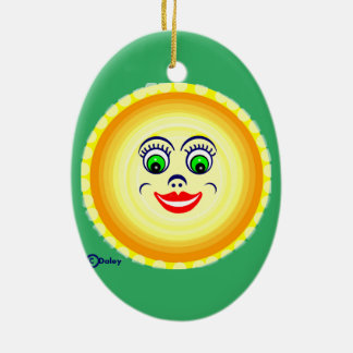 Sun Sunny Face Cutie Pie  Punim Ceramic Oval Ornament
