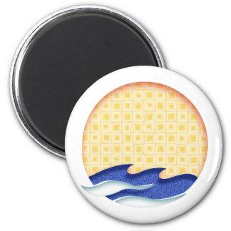 Sun & Surf Graphic Logo 2 Inch Round Magnet