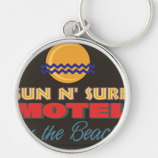 Sun&Surf Motel Silver-Colored Round Keychain