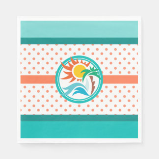 Sun & Surf (Orange Dots) Disposable Napkins