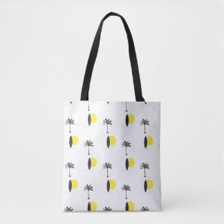 Sun, surfboard, and palm tote bag