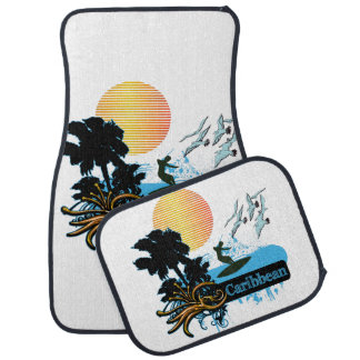 Sun Surfer Palms & Gulls CARIBBEAN Car Mat