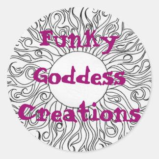 sun swirls, Funky Goddess Creations Round Sticker