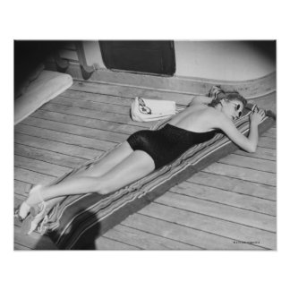 Sun Tanning Woman Poster