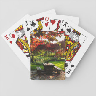 Sun through autumn leaves, Croatia Playing Cards