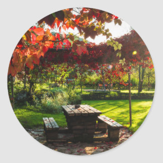 Sun through autumn leaves, Croatia Round Sticker