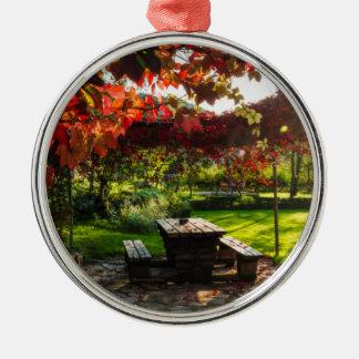 Sun through autumn leaves, Croatia Silver-Colored Round Ornament