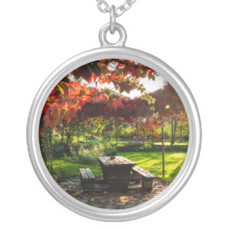 Sun through autumn leaves, Croatia Silver Plated Necklace