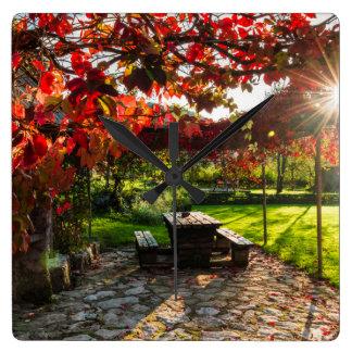 Sun through autumn leaves, Croatia Square Wall Clock