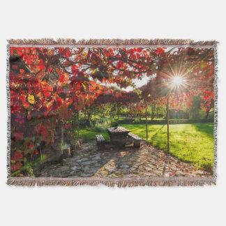 Sun through autumn leaves, Croatia Throw Blanket