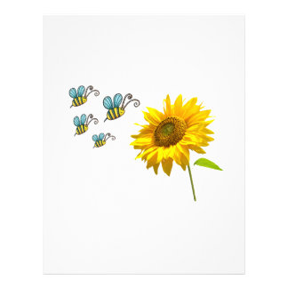 sun to flower and bees letterhead template