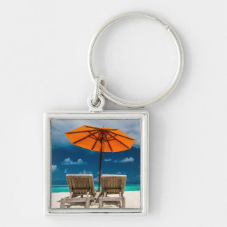 Sun Umbrella On Sandy Beach |Maldives Silver-Colored Square Keychain