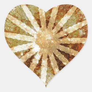 Sun Universe Cosmic Warm Golden Brown Colors Heart Sticker
