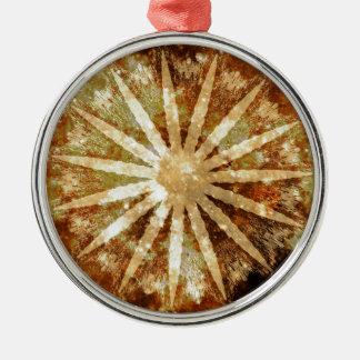 Sun Universe Cosmic Warm Golden Brown Colors Metal Ornament